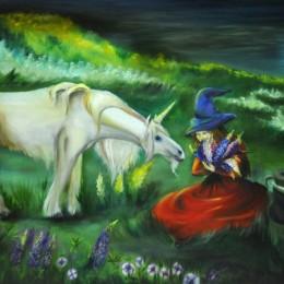 Фото Единорог и волшебница картина масло