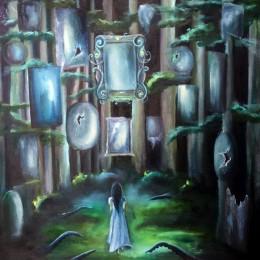 Фото Разбитые зеркала, щупальца и девушка картина масло