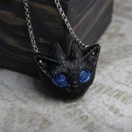 Фото Кулон Кот с рогами и синими глазами