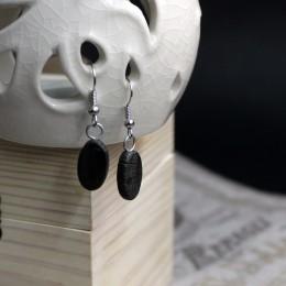 Фото черные серёжки Овалы