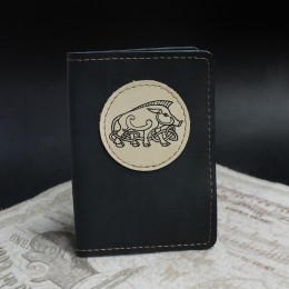 Фото Чёрная обложка на паспорт Кабан