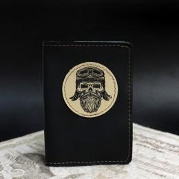 Фото Чёрная обложка на паспорт Бородатый байкер