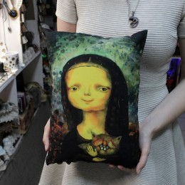 Фото Подушка Мона Лиза с котом