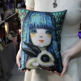 Фото Подушка Девочка с бирюзовыми волосами