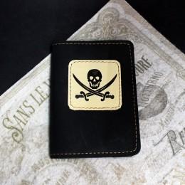 Фото Чёрная обложка на паспорт Череп и рапиры