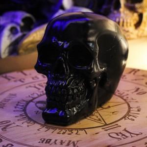 Фото Чёрный череп человека из гипса