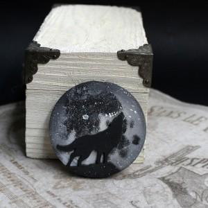 Фото Магнит Волк на фоне луны