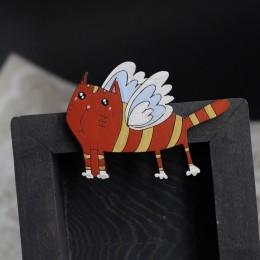 Фото Брошка Кот рыжий с крыльями