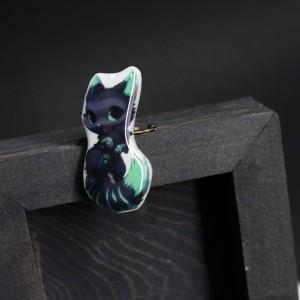ФотоБрошка Лазурная котейка цвет бирюза