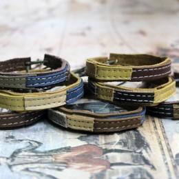 Фото Браслет кожаный унисекс (тройной, косичка, двухцветный, узел)