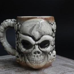 Фото Кружка керамическая Череп керамика ручной работы