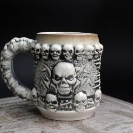 Фото ККружка керамическая серая Череп керамика ручной работы