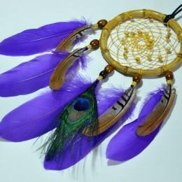 Фото Ловец снов фиолетовый с глазом павлина ручной работы