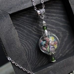 Фото Кулон сфера с разноцветными цветочками