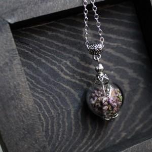 Фото Кулон сфера с вереском (фурниура под серебро)