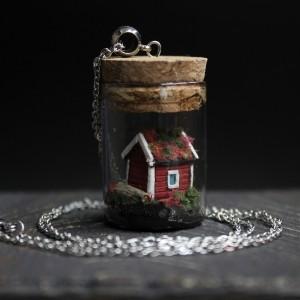 ФотоКулон в бутылочке Домик