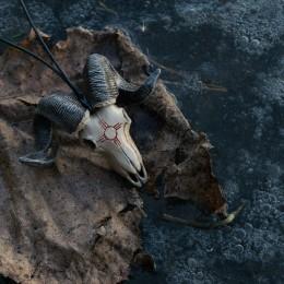 Фото Кулон череп барана с солярным символом