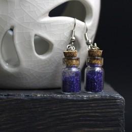 Фото Серьги бутылочки фиолетовые