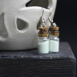 Фото Серьги бутылочки со светящимся порошком