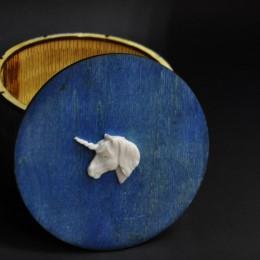 фото Шкатулка-коробка круглая Единорог