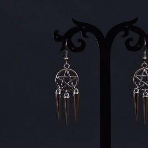 Фото Серьги с пентаграммами и тремя шипами