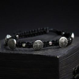 Фото Браслет шамбала с металлическими бусинами