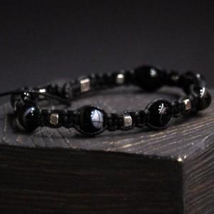 Фото Чёрный агат браслет шамбала