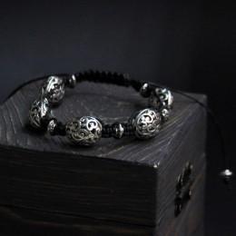 Фото Браслет шамбала с металлическими бусинами Винтаж