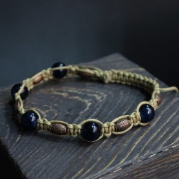 Браслет шамбала с селенитом (тёмно-синий) фото