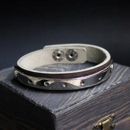 Браслет кожаный со стальной вставкой №1 фото