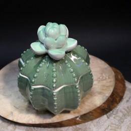 Фото Керамическая шкатулочка Кактус с цветком
