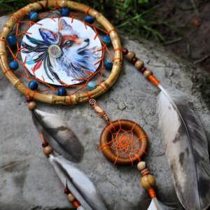 Фото Ловец снов с лисой и бусинами агата