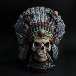 Фото Копилка Череп индейца раскрашенный