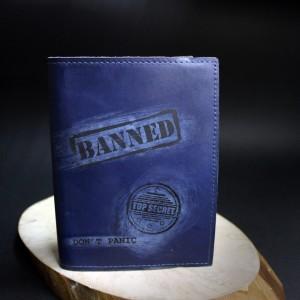 Фото Блокнот с кожаной обложкой Без паники (синий)