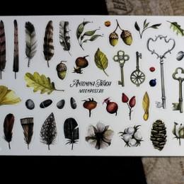 Фото Наклейки виниловые перья, ключики