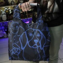 Фото Синяя сумка-шоппер с собаками