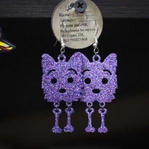 Фото Серьги фиолетовые с блёстками Йорк