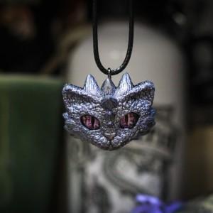 Фото Кулон Кот-Дракон лиловый