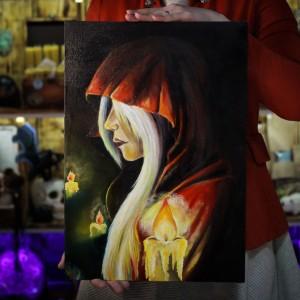 Фото Девушка в красном и свечи картина масло