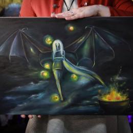 Фото Девушка демон с крыльями летучей мыши картина масло