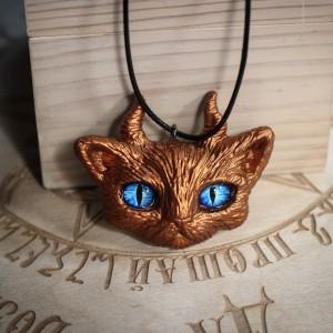 Фото Кулон рогатый кот Золотой