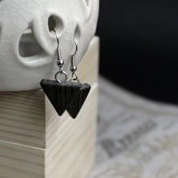 Фото Серьги из дерева чёрные Треугольники