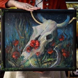 Фото Череп быка и красные маки картина маслом