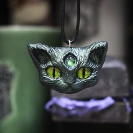 Фото Кулон Кот с третьим глазом металлик
