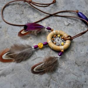 Фото Кулон Ловец снов пёстрые пёрышки фазана