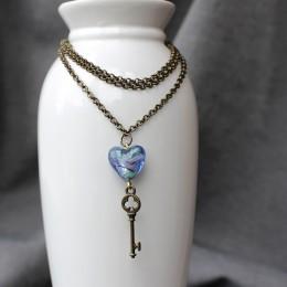 Фото Кулон Голубое сердце и ключ