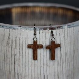 Фото Серьги крестики из дерева