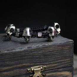 Фото Браслет с черепами и бусинами на чёрном шнуре