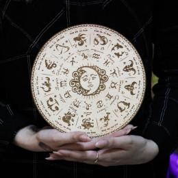 "Фото Знаки Зодиака ""Солнце и Полумесяц"" бежевый круг 20 см"
