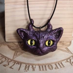 """Фото Кулон фиолетовый кот """"Чернокнижник"""""""